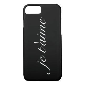 """Zwarte """"je t'aime"""" nauwelijks daar iPhone 7 hoesje"""