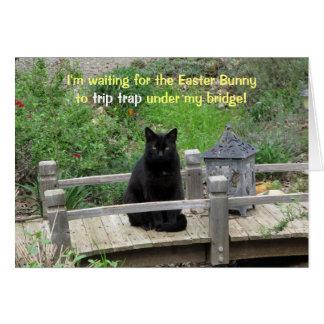 Zwarte Kat die op de Kaart van Pasen van de Brug