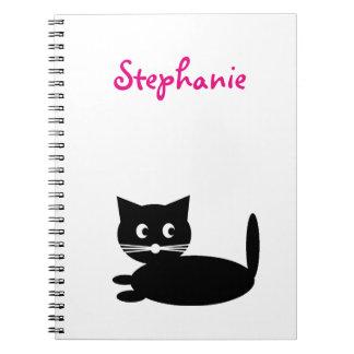 Zwarte Kat Gepersonaliseerde Kinder Naam Ringband Notitieboek