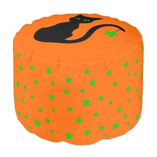 Zwarte Kat Halloween om Poef