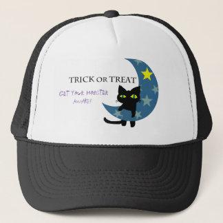 Zwarte Kat met de Blauwe Maan Trucker Pet