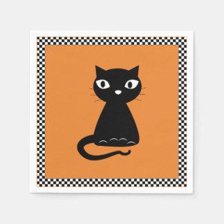 Zwarte Kat met Gekrulde Staart Halloween Papieren Servet