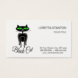 Zwarte kat met groene ogen visitekaartjes