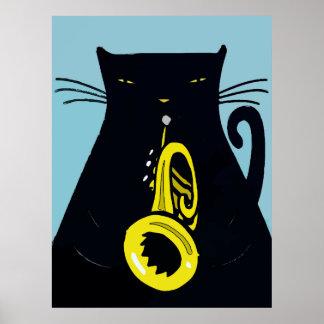 Zwarte Kat met Trompet Poster