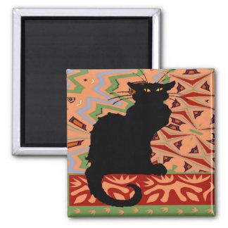Zwarte Kat op Abstract Behang Magneet