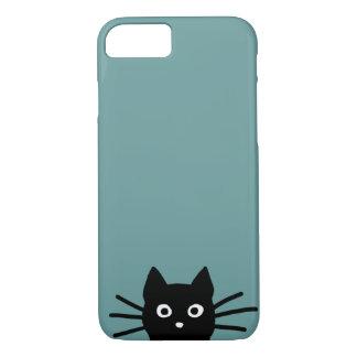 Zwarte Kat op Blauw (de Kleur is Klantgericht) iPhone 7 Hoesje