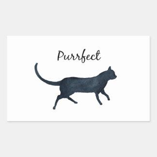 """Zwarte kat """"purrfect """" rechthoekvormige stickers"""