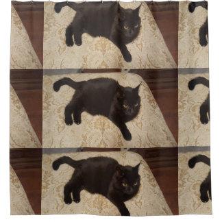 Zwarte Kat Roxie Douchegordijn