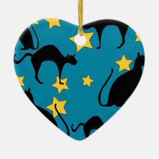 zwarte katten keramisch hart ornament