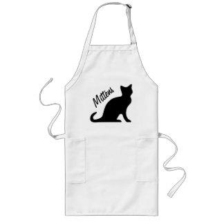 Zwarte kattenschorten | Personaliseerbare tekst Lang Schort