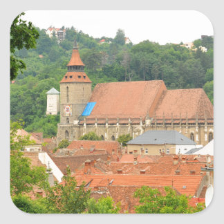 Zwarte kerk in Brasov, Roemenië Vierkante Stickers
