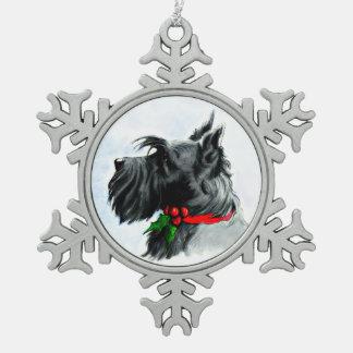 Zwarte Kerstmis Scotty Tin Sneeuwvlok Ornament