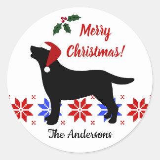Zwarte Kerstmis van de Kerstman van het Silhouet Ronde Sticker