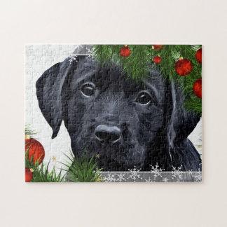 Zwarte Kerstmis van Labrador Legpuzzel