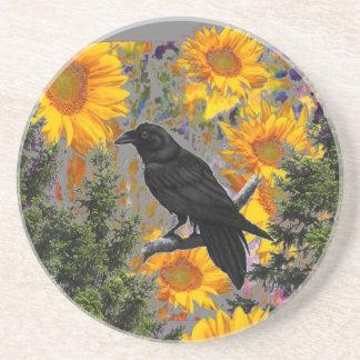 zwarte kraai & zonnebloemenart. zandsteen onderzetter