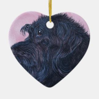 Zwarte Labradoodle Keramisch Hart Ornament