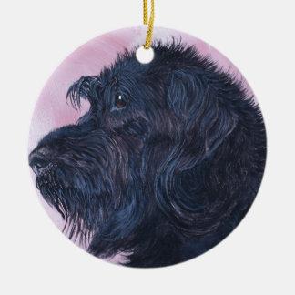 Zwarte Labradoodle Rond Keramisch Ornament