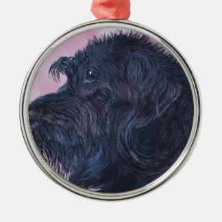 Zwarte Labradoodle Zilverkleurig Rond Ornament