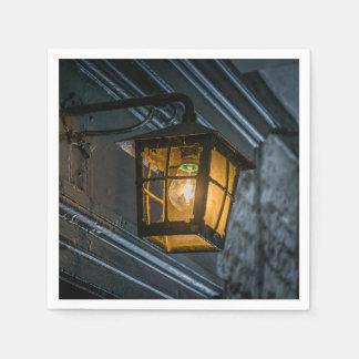 Zwarte lantaarn bij nacht wegwerp servetten