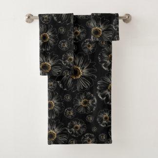 Zwarte Madeliefjes Bad Handdoek