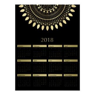 Zwarte met de Gouden Kalender van Mandala 2018 Poster