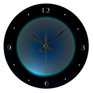 Zwarte met de Verlichte Klok van het Blauw/Aqua Grote Klok