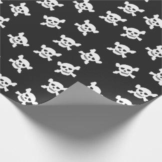 Zwarte met Witte Schedel en Gekruiste knekels Cadeaupapier