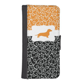 Zwarte & Oranje Wervelingen w/Dachshund iPhone 5 Portemonnee Hoesje