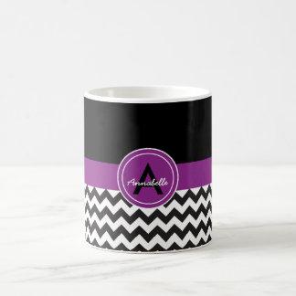 Zwarte Paarse Chevron Koffiemok