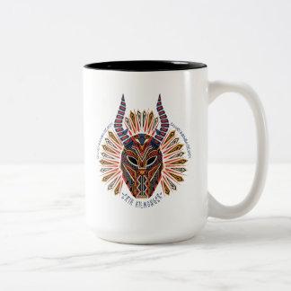 Zwarte Panter | Erik Killmonger Tribal Mask Icon Tweekleurige Koffiemok