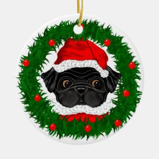 Zwarte Pug Kerstman Rond Keramisch Ornament