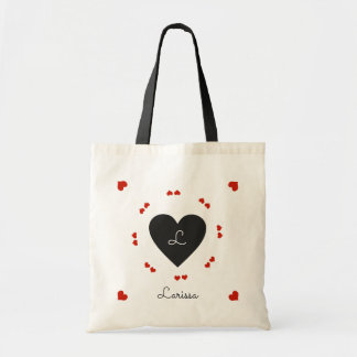 zwarte & rode romantische harten, budget draagtas