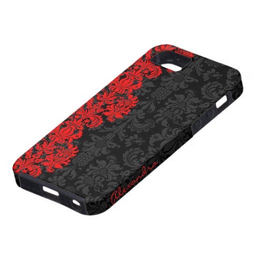 Zwarte & Rode Vintage BloemenDamasten iPhone 5 Cover