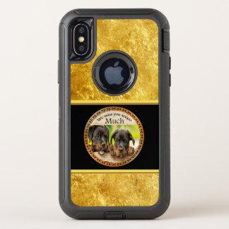 Zwarte Rottweiler leuke puppyhonden met droevige OtterBox Defender iPhone X Hoesje