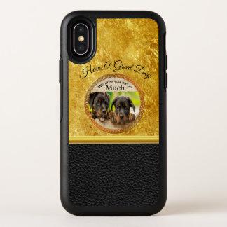 Zwarte Rottweiler leuke puppyhonden met droevige OtterBox Symmetry iPhone X Hoesje