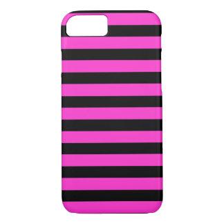 Zwarte Roze horizontale iPhone 7 van Strepen iPhone 8/7 Hoesje