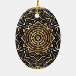 Zwarte saffiermandala keramisch ovaal ornament