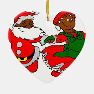 zwarte santa Mevr. Claus Keramisch Hart Ornament
