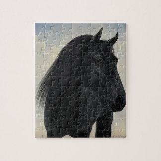 Zwarte Schoonheid - het Zwarte Friesian Portret Puzzel