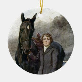 Zwarte Schoonheid - zij koos me voor Haar Paard Rond Keramisch Ornament