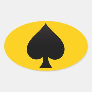 Zwarte Spade - het Kostuum van Kaarten, Pook, Ovaalvormige Sticker
