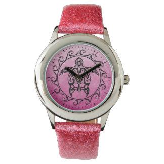 Zwarte StammenSchildpad Horloge