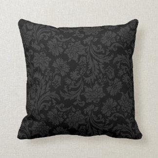 Zwarte Vintage BloemenDamasten Monotones Sierkussen
