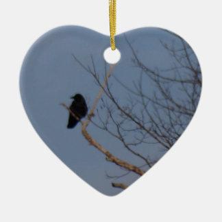 Zwarte Vogel Keramisch Hart Ornament