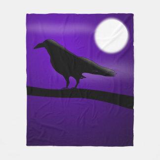 Zwarte Vogel op Volle maan van de Hemel van de Tak Fleece Deken