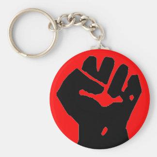 zwarte vuist op rode zeer belangrijke ketting sleutelhanger
