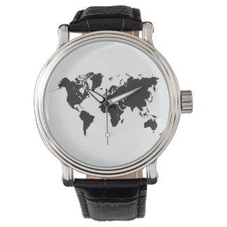 zwarte wereldkaart horloges