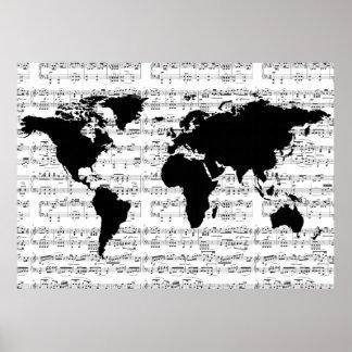zwarte wereldkaart met muzieknoten poster