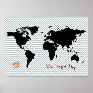 zwarte wereldkaart op chevron poster