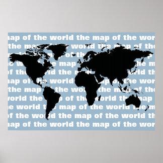 zwarte wereldkaart poster